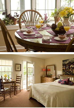 Two scenes: a set breakfast table and a bedroom with king bed and open door to a private deck